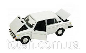 Машина металева колекційна ВАЗ 2106 АВТОПРОМ Світло, звук, відкривши двері 1:22 Біла