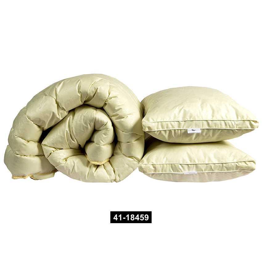 "Одеяло лебяжий пух ""Бежевое"" евро + 2 подушки 70х70, 41-18459"