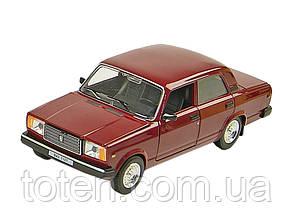 Машина металева колекційна ВАЗ 2107 АВТОПРОМ. Інерція, світло, звук, відкривши двері 1:24 Червона