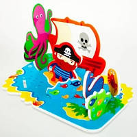 Игровой набор для ванной 3D сцена ОСТРОВ СОКРОВИЩ 17 деталей Meadow Kids MK 036