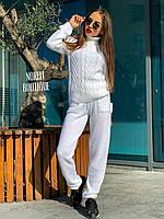 Женский тёплый вязаный костюм Хинза (бордо,голубой,белый, черный,синий,розовый,серый, беж и т.беж)