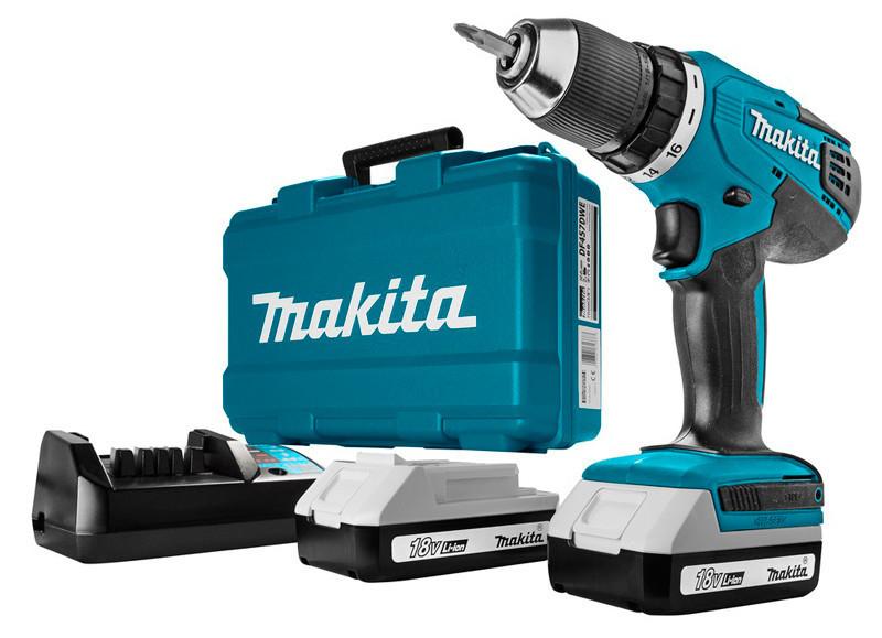 Аккумуляторный шуруповерт Makita DF457DWE + 2 акб BL1815G 18 V 1.5 Ah + з/у DC18WA + кейс