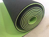 Коврик для йоги, гимнастики из каучука двуслойный  зеленый/салатовый 183 х 61 х 0,6 см, фото 1