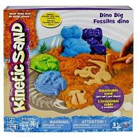 Песок для детского творчества KINETIC SAND DINO голубой коричневый формочки окаменелости 340г Wacky-Tivities 71415Dn