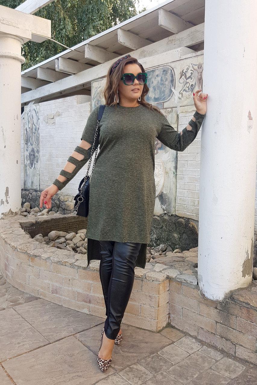 Женская стильная ангоровая туника удлиненная сзади с прорезями на рукавах, батал большие размеры