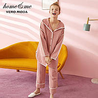 Женская пижама теплая с длинным рукавом. Теплая пижама для дома сна, р. М (розовый)