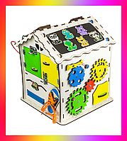 Детская развивающая игрушка Дом большой деревянный 30х30х40 B007 Бизикуб Бизиборд Бізіборд Бізікуб
