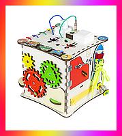 Детская развивающая игрушка Кубик деревянный 25х25х25 с подсветкой K009 Бизикуб Бизиборд Бізіборд Бізікуб