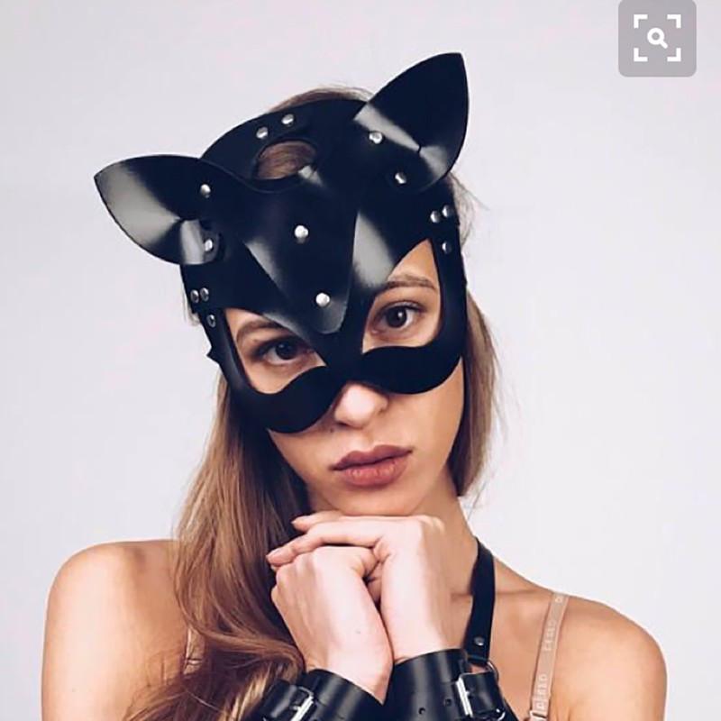 Черная  маска кошечки Catwoman mask