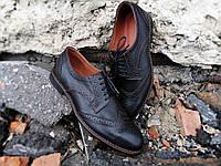 Мужские туфли броги кожаные коричневые классические