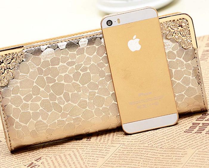 Женский золотой портмоне-чехол для телефона
