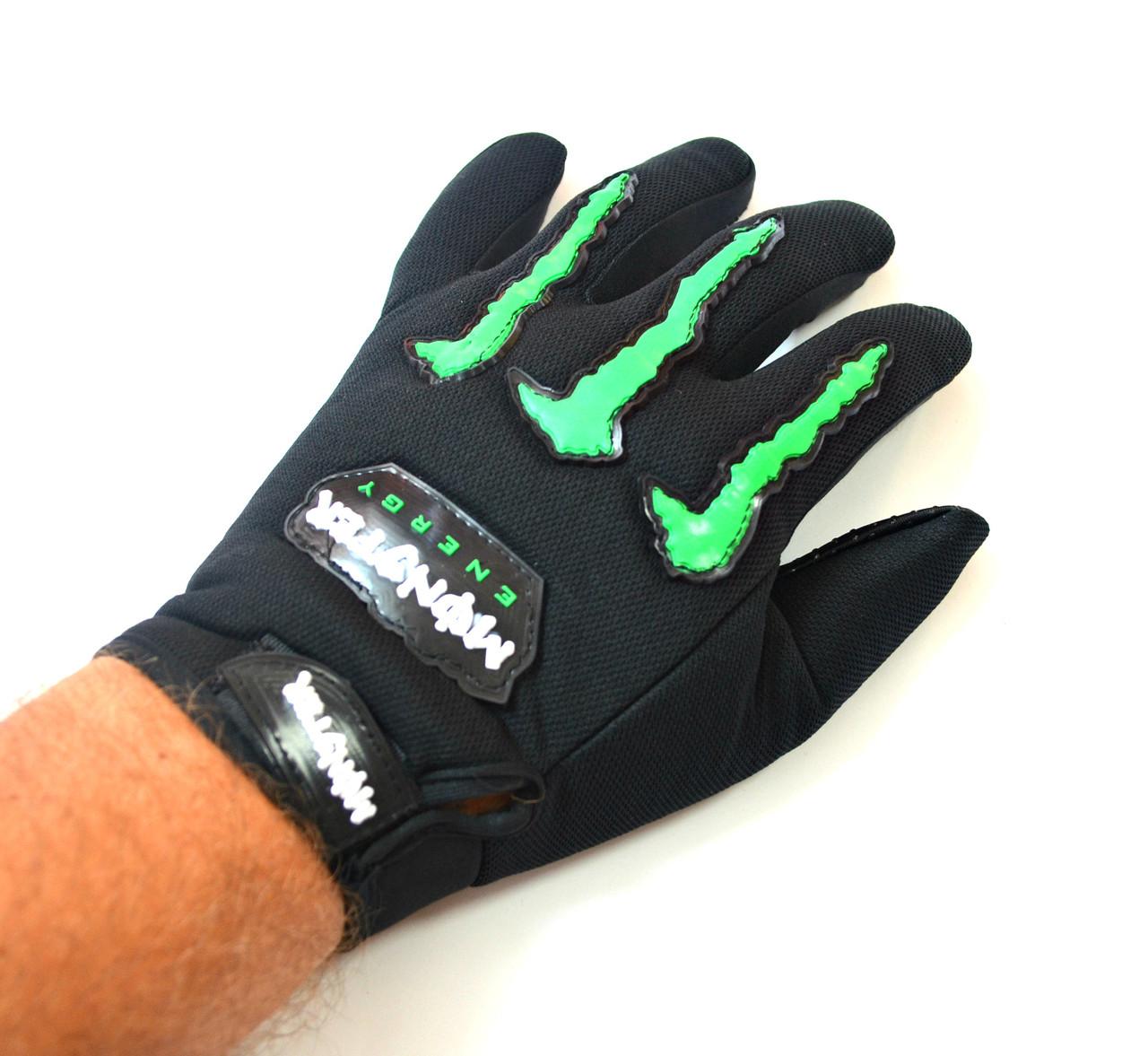 Текстильные мотоперчатки Monster Energy черные