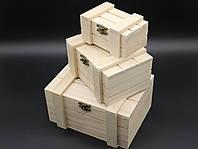 Шкатулка для декупажа с замком, петлями. Три шт/комплект. 18х14х10см