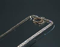 Чехол для Samsung Note 2 N7100 прозрачный с кристаллами, фото 1