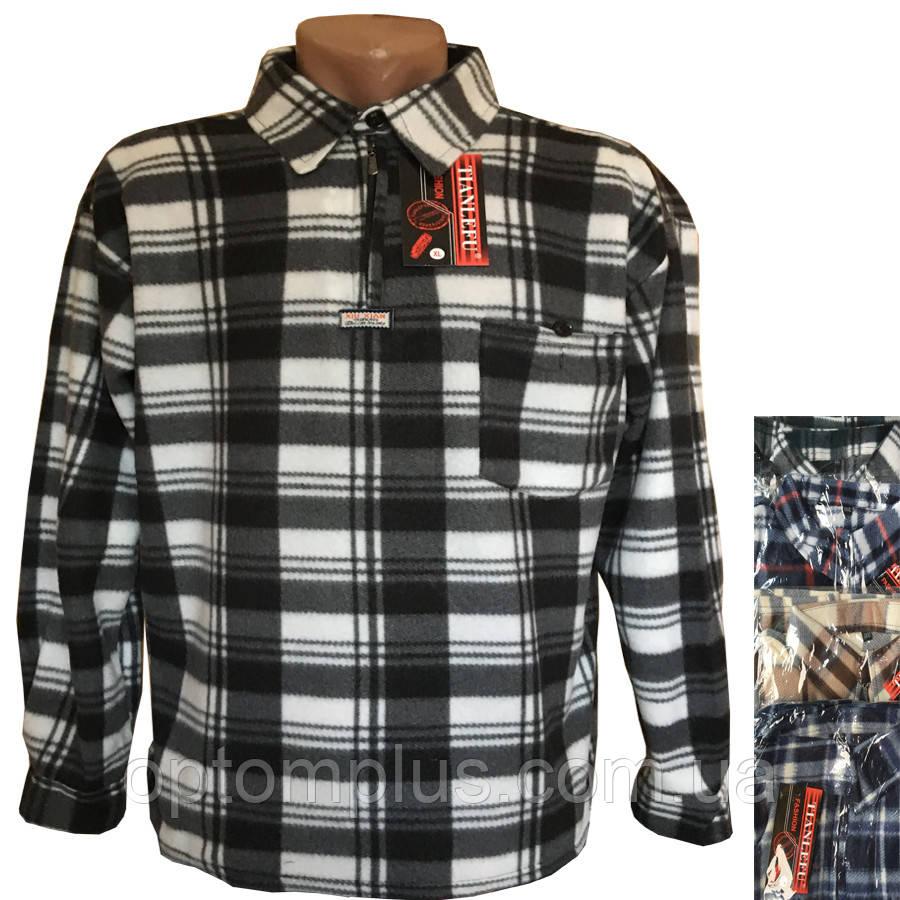 Рубашки мужские (флис) (XL-5XL) оптом купить от склада 7 км