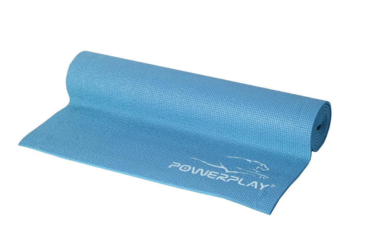 Килимок для фітнесу і йоги PowerPlay 4010(173*61*0,6) Голубий