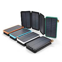 Power bank 12000 mAh Solar, (5V/200mA), 2xUSB, 5V/1A/2.1A, микс-цвет, USB  microUSB, ударо защищеный