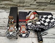 Брендовий парасолька Moschino Toy автомат антиветер, фото 3