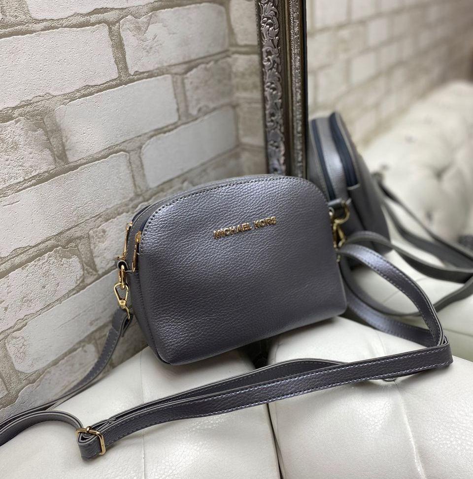 Маленькая женская сумка через плечо стильная молодежная кросс-боди сумочка клатч графит кожзам