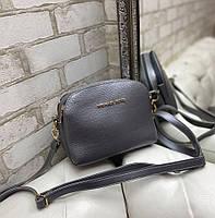 Маленькая женская сумка через плечо стильная молодежная кросс-боди сумочка клатч графит кожзам, фото 1