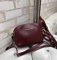 Маленькая женская сумка через плечо стильная молодежная кросс-боди сумочка клатч бордовая кожзам, фото 1