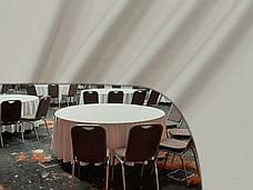 Скатертина Ø 306см Сатин Бежевий з просоченням Тефлон (Т-310) Туреччина Банкетна на стіл 180см, фото 3
