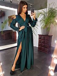 Красивое вечернее платье в пол с разрезом открытые спина и плечи шелк