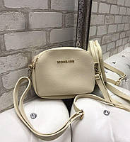 Сумка женская бежевая через плечо маленькая сумочка на длинном ремешке клатч кожзам, фото 1