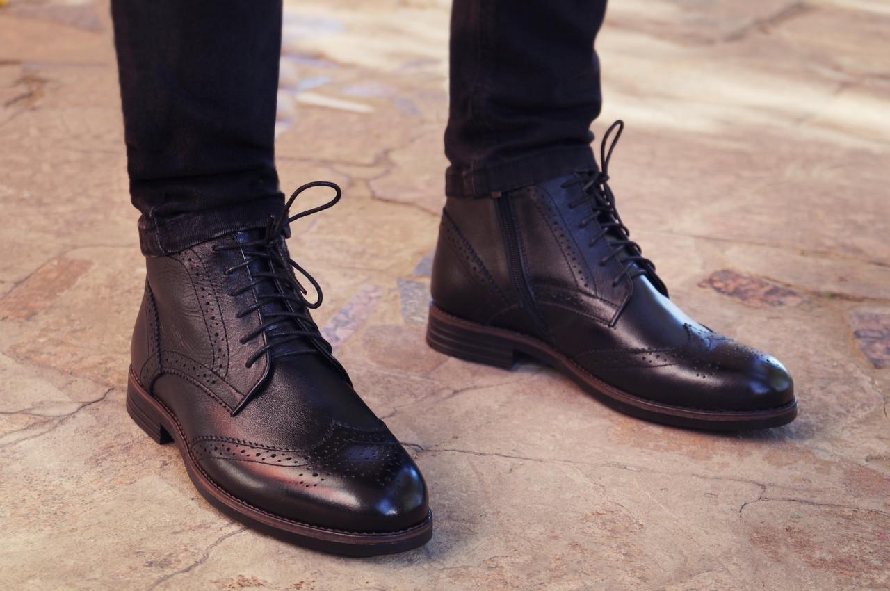 Мужские демисезонные натуральные кожаные броги\полуботинки