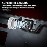 Автомобільна рамка під номер пластик black з камерою заднього виду 4 LED підсвіткою, фото 3