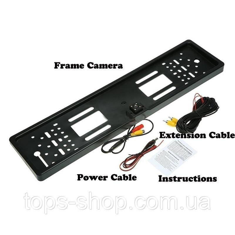 Автомобільна рамка під номер пластик black з камерою заднього виду 4 LED підсвіткою