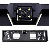Автомобільна рамка під номер пластик black з камерою заднього виду 4 LED підсвіткою, фото 9