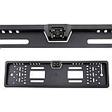 Автомобільна рамка під номер пластик black з камерою заднього виду 4 LED підсвіткою, фото 7