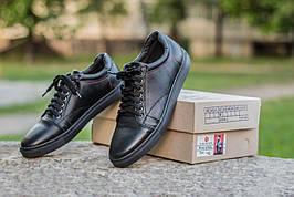 Мужские натуральные кожаные кеды Black Leather Original