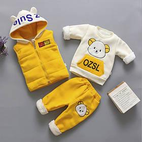 Костюм трійка дитячий утеплений хутро-травичка 4 роки жовтий