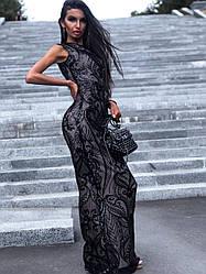 Стильное вечернее платье в пол с пайетками без рукава