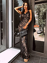 Стильное вечернее платье в пол с пайетками без рукава, фото 2