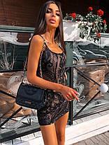 Стильне вечірній коротка сукня з паєтками без рукава, фото 2