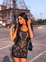 Стильное вечернее короткое платье с пайетками без рукава, фото 3