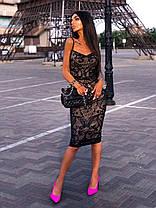 Стильное вечернее платье миди с пайетками без рукава, фото 2