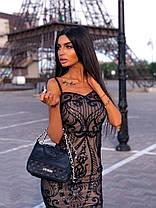 Стильное вечернее платье миди с пайетками без рукава, фото 3