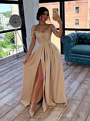 Очень красивое вечернее платье в пол с разрезом и кружевом
