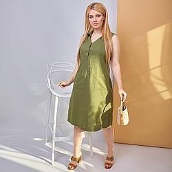 Легкое летнее платье из льна на пуговицах сверху и с накладными карманами, батал большие размеры