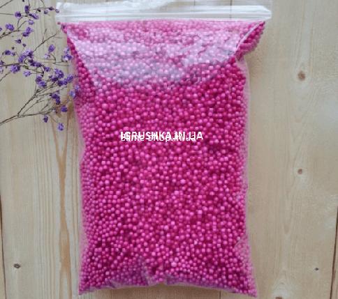 Пенопластовые шарики для слайма маленькие малиновые, 2-4 мм, фото 2