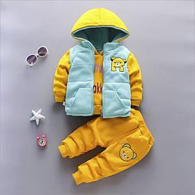 Костюм трійка дитячий утеплений хутро-травичка 1-4 роки жовтий