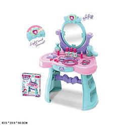Туалетный столик зеркало, фен, расческа, звук,свет,размер в собр.виде: 44*28*66см, в кор.43*9,5*54см /8/
