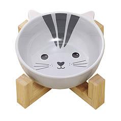 Миска для котів і собак Taotaopets 115505 Кіт керамічна на дерев'яній підставці