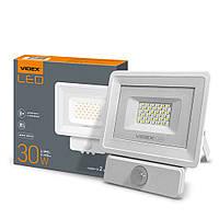 Светодиодный уличный LED прожектор VIDEX 30W 5000K 220V (датчик света,движения)