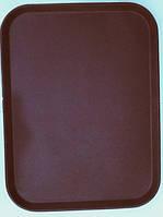"""Поднос""""Антислип""""прямоугольный для официанта коричного цвета 650*450*23 мм (шт)"""