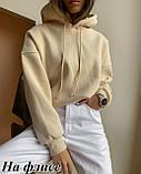 Женское худи теплое осеннее зимнее трехнить на флисе черное, белое, бежевое, пудровое 42-46 48-52 однотонное, фото 3
